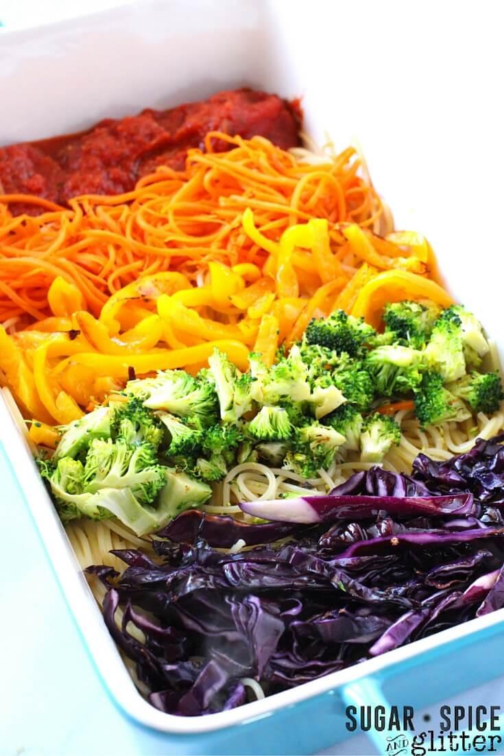 How to make rainbow spaghetti - an easy healthy rainbow recipe the kids will love