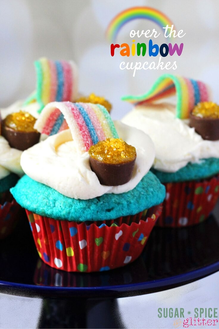 Aren't these over the rainbow cupcakes the sweetest desserts ever? A kids' kitchen project that is really forgiving and easy, this post shares a blue velvet cupcake recipe but you can swap out the cake for whatever you'd prefer