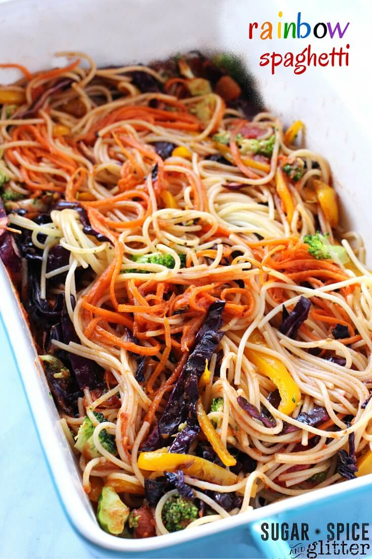 A healthy rainbow recipe for kids - this Rainbow Spaghetti encourages children to eat a rainbow of vegetables! Try introducing it after reading a rainbow-inspired book or as a special St. Patrick's Day recipe