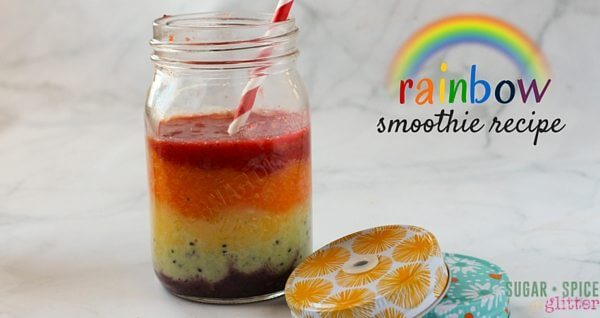 "An easy healthy rainbow recipe - this rainbow smoothie is the perfect breakfast idea for kids! Teach them the importance of eating a ""rainbow of fruits & vegetables"" in a delicious morning treat. This rainbow smoothie is perfect anytime but would make a healthy St Patrick's day snack, too!"