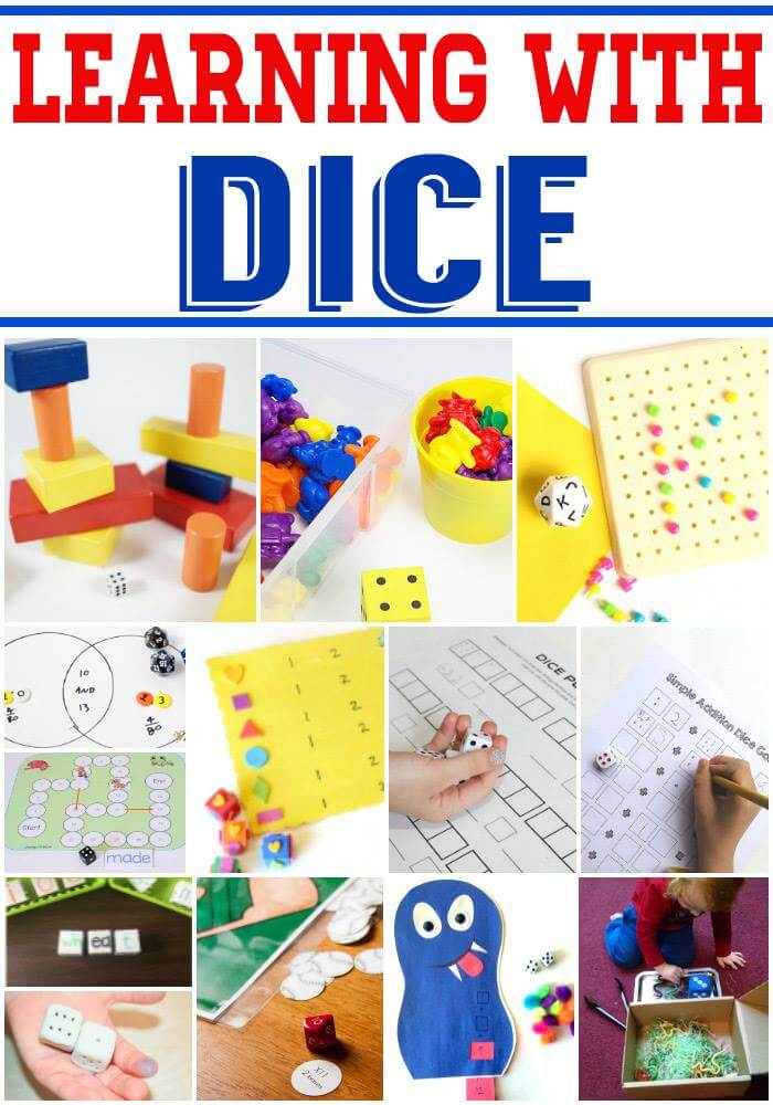 Learning with Dice - fun ways to make and use dice for learning, including hands-on math games