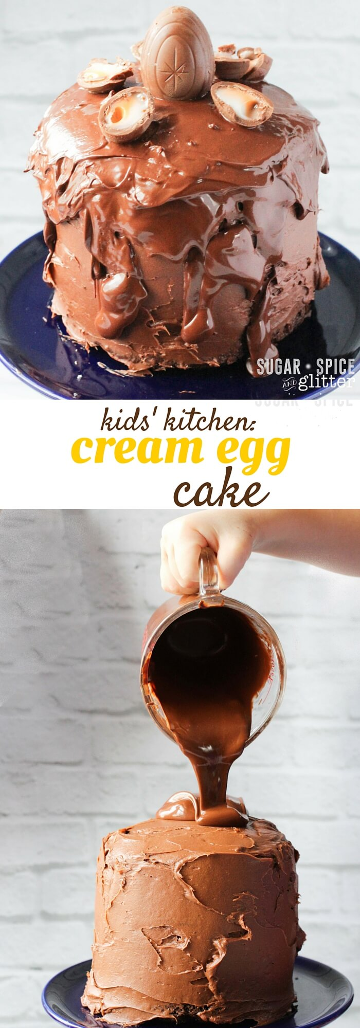 Can you believe that this gorgeous, decadent Cream Egg Easter Cake was made by a 4 year old? Super easy, anyone can make it - this is a kids' kitchen recipe your kids will be so proud of making (and if kids can make it, any adult can, too!) Quadruple chocolate decadence
