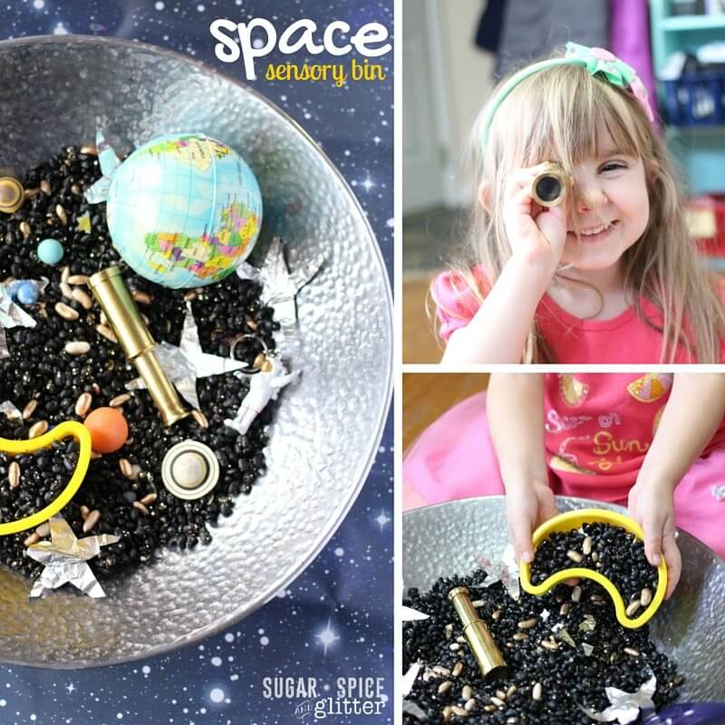Fun ways to explore this space themed sensory bin - the perfect sensory bin for little astronauts of all ages!