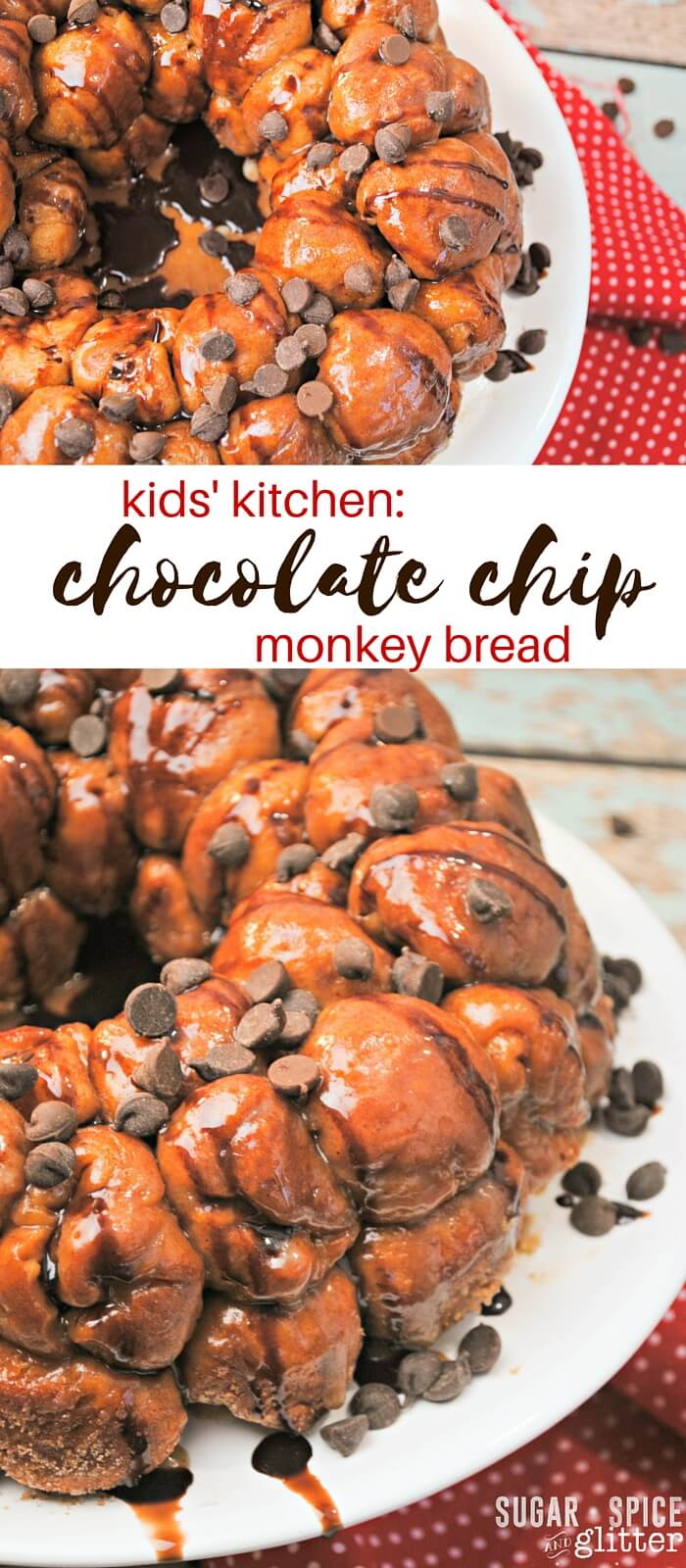 Kids' kitchen is excited to share with you another cooking with kids dessert! Chocolate chip monkey bread is an easy dessert recipe made with simple ingredients. This pull apart bread is perfect for family movie nights or as a quick treat for your next get together.