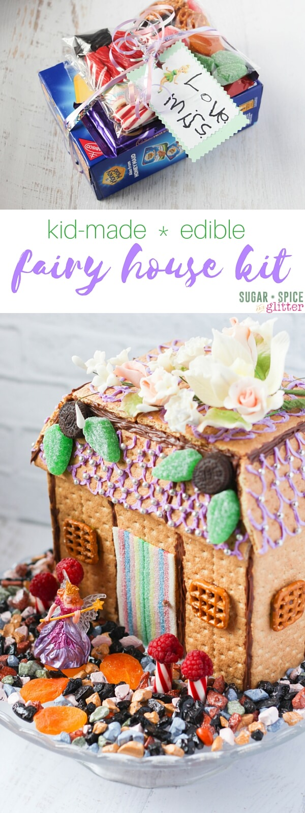 How to make an edible fairy house tutorial, complete with a free printable gift tag for a DIY Fairy House Kit. This would be a beautiful centrepiece at a Fairy party and is a great STEAM activity for kids, allowing them to engineer a house with all edible materials