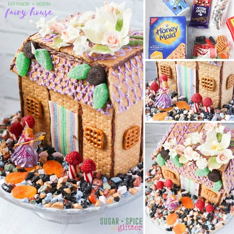 A fun tutorial on how to make an edible fairy house with kids - a great kids' kitchen project mixing engineering & edible crafting. Includes free printable gift tag to make your own DIY fairy house kit