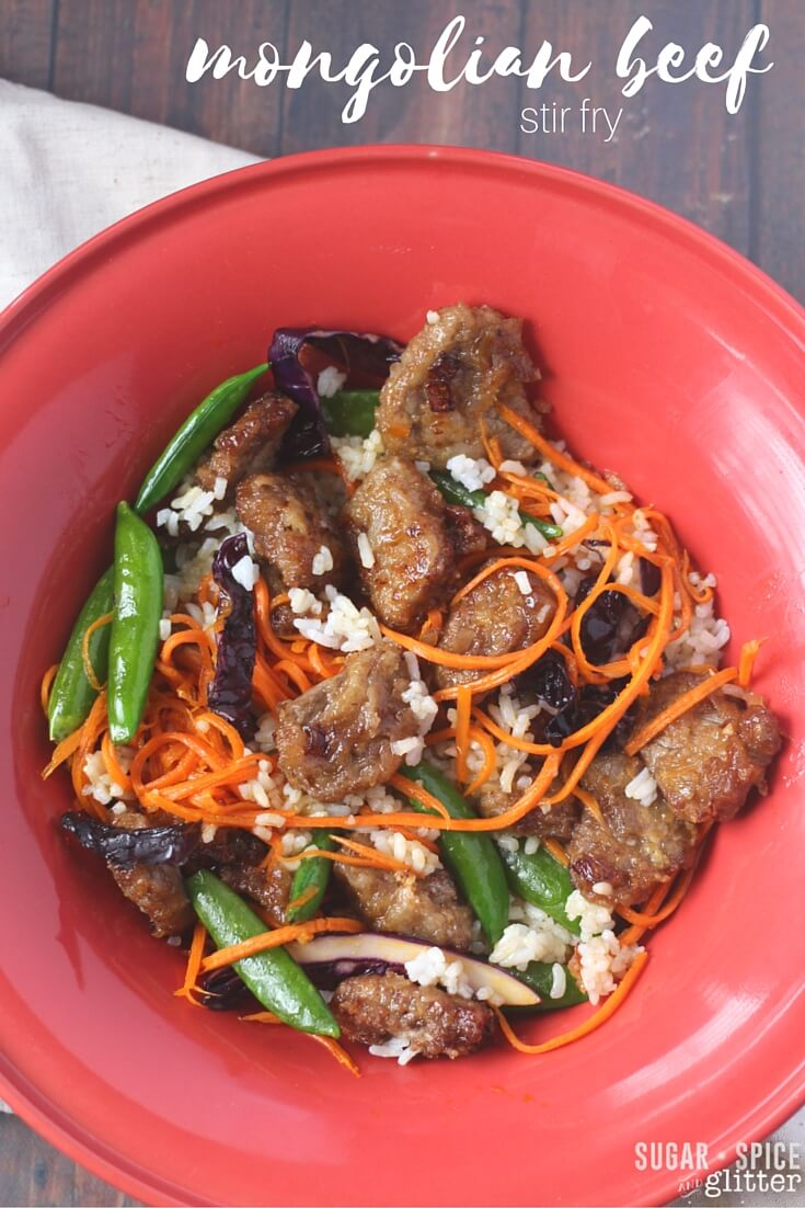 Healthy, family-friendly mongolian beef stir fry. Crunchy, tender meat, fresh just-barely-cooked vegetables, and a light drizzle of sauce. A versatile recipe that is great for beginners to cooking Asian recipes, this recipe explains how to make the dish more palatable for kids or more spicy for grown-ups.