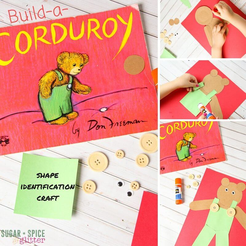 Build-a-Corduroy, a shape craft inspired by the classic children's book. Easy to set up and great for mixed age groups