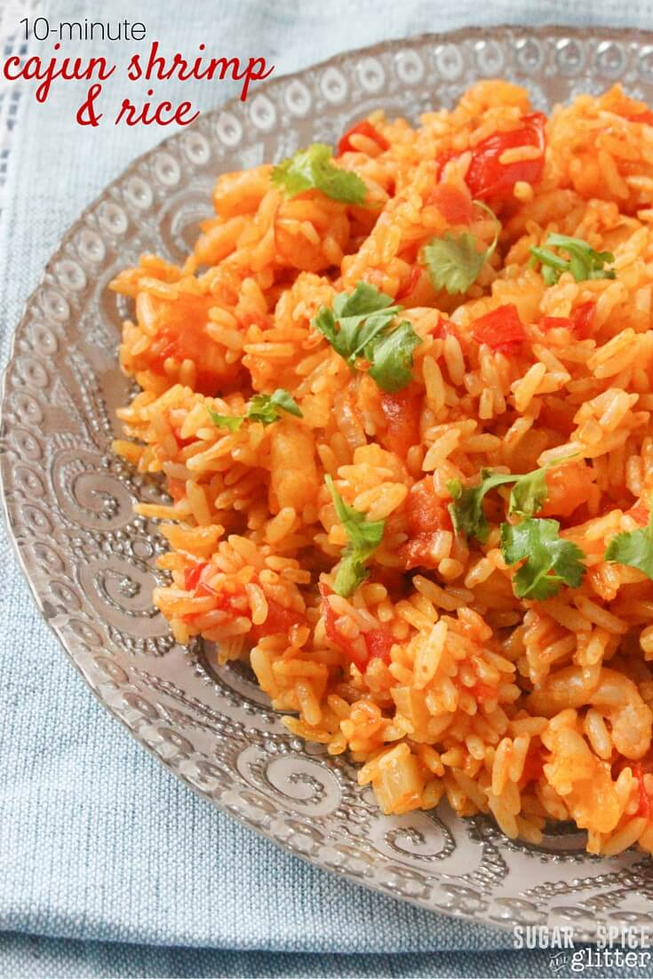 10-minute Cajun Shrimp & Rice recipe - a quick DIY Spanish Rice recipe with a homemade blend of Cajun spices, whipped into a delicious easy meal