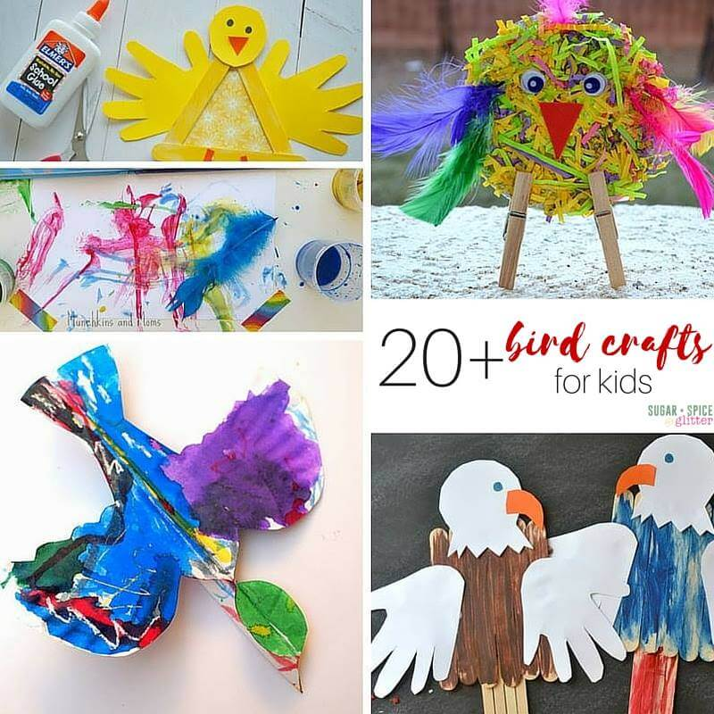 20 Bird Arts and Craft for Kids on Sugar, Spice and Glitter
