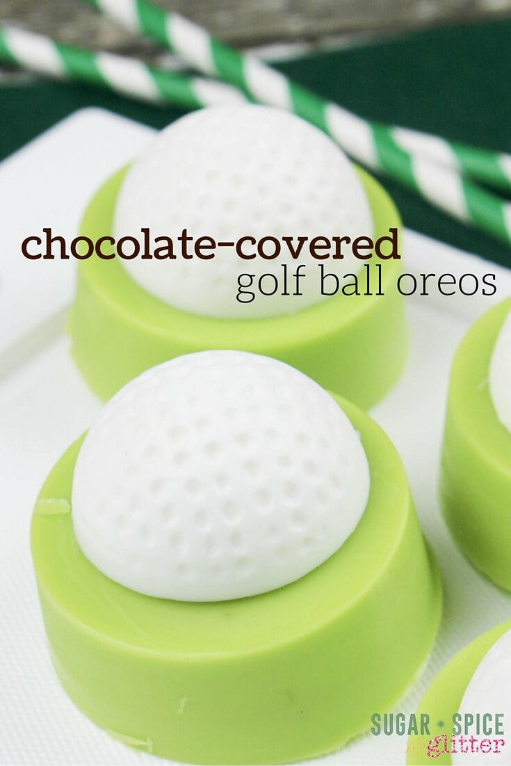 These chocolate-covered oreos for Father's Day are such a great gift for a golf fan! I love easy desserts for Father's day that kids can help make, these would also be a great teacher appreciation gift, too!