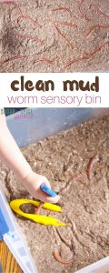 clean mud worm sensory bin