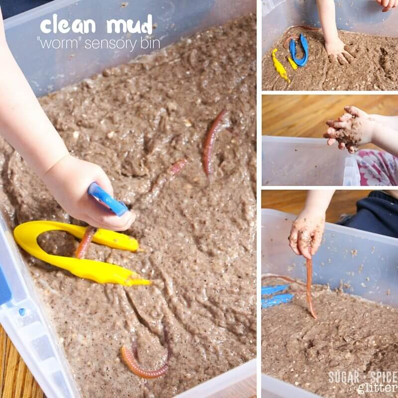 clean mud worm sensory bin (2)