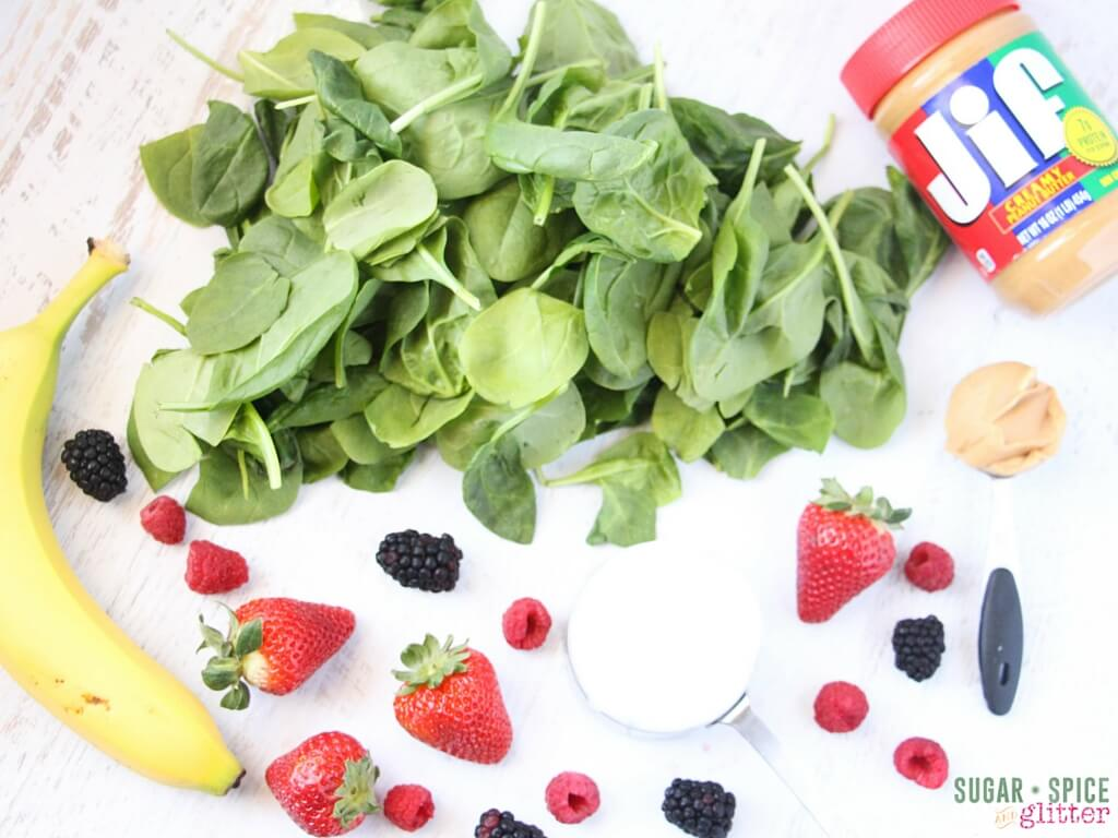 How to make a berry green smoothie with peanut butter