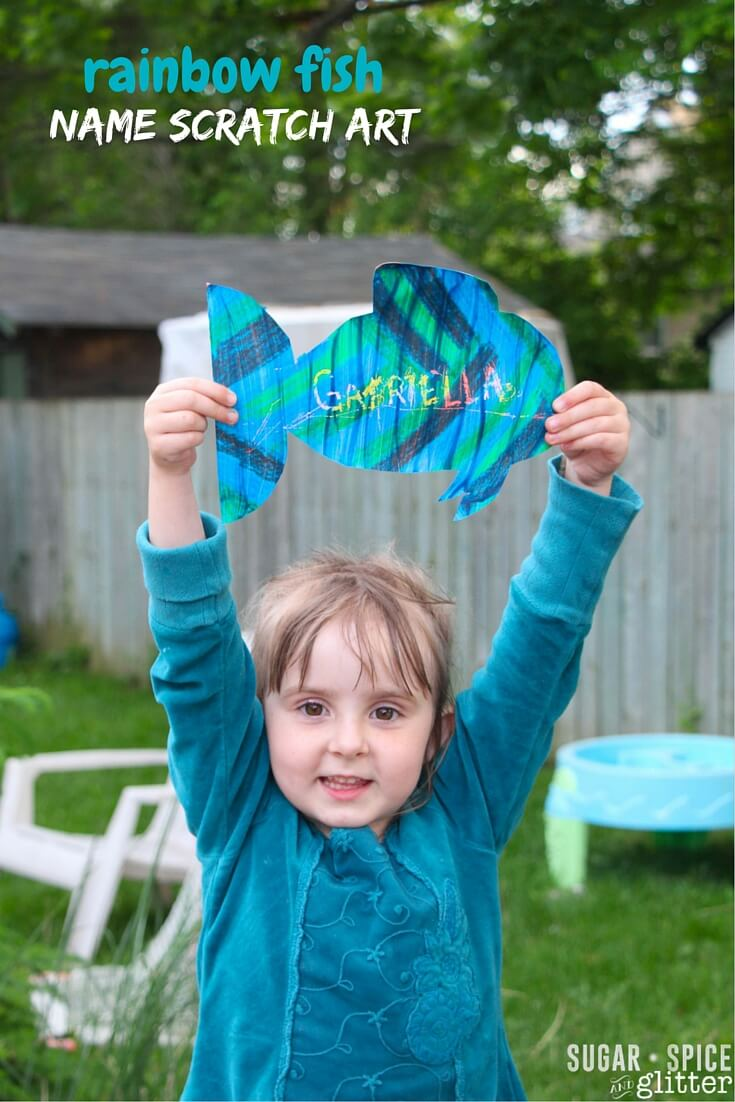 Make this DIY Scratch Art as a fun name writing activity after reading the Rainbow Fish