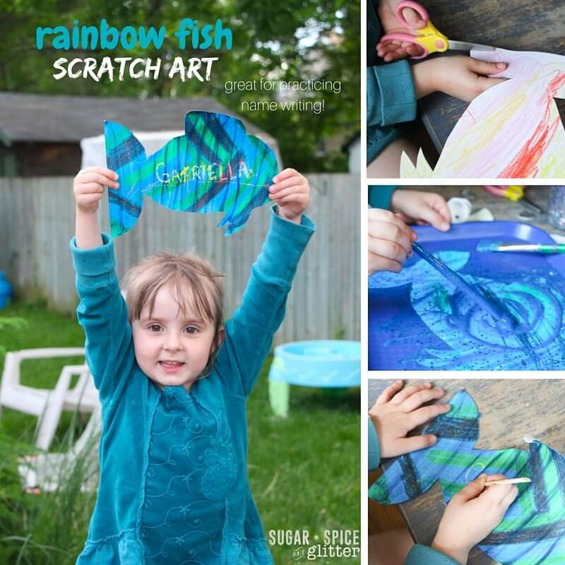 How to make DIY Scratch Art as a fun Rainbow Fish craft