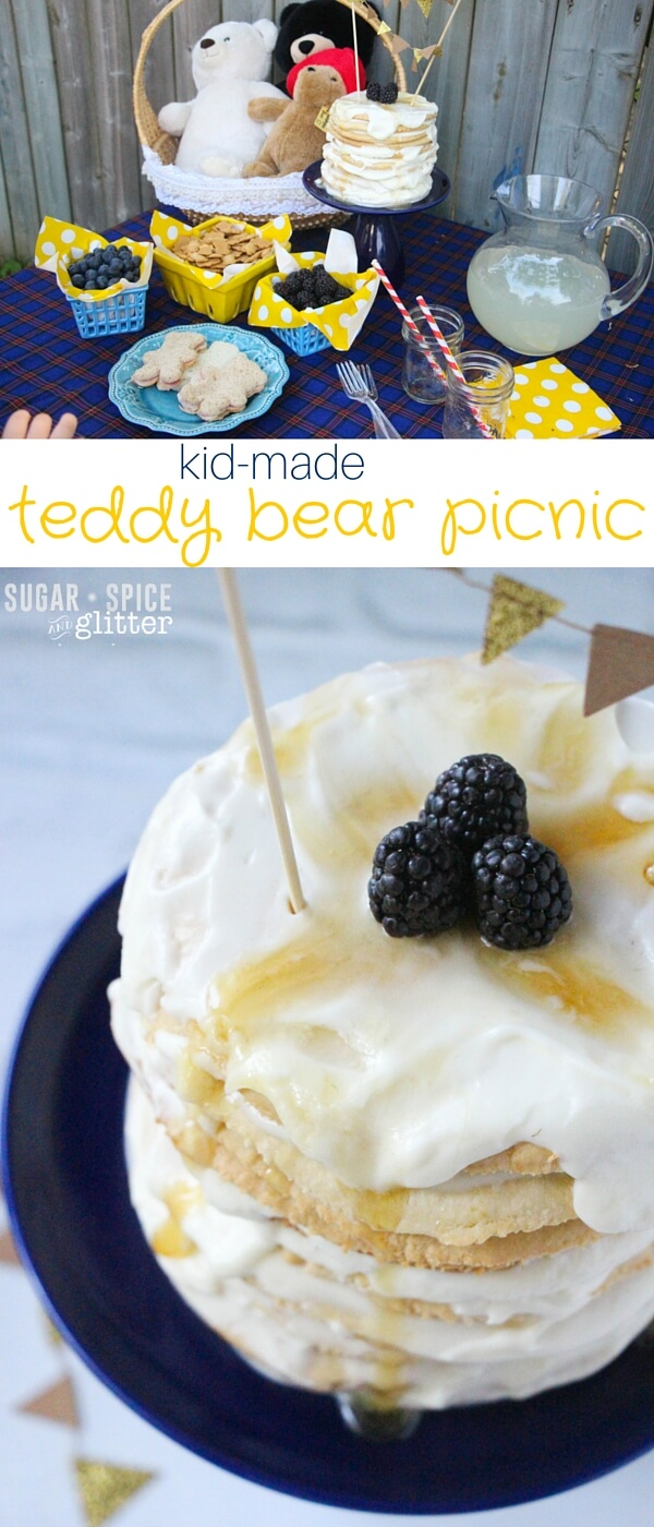 A quick and easy teddy bear picnic that kids can help prepare. A simple honey layer cake is the center of this bear-rific table scape full of mostly healthy party foods.