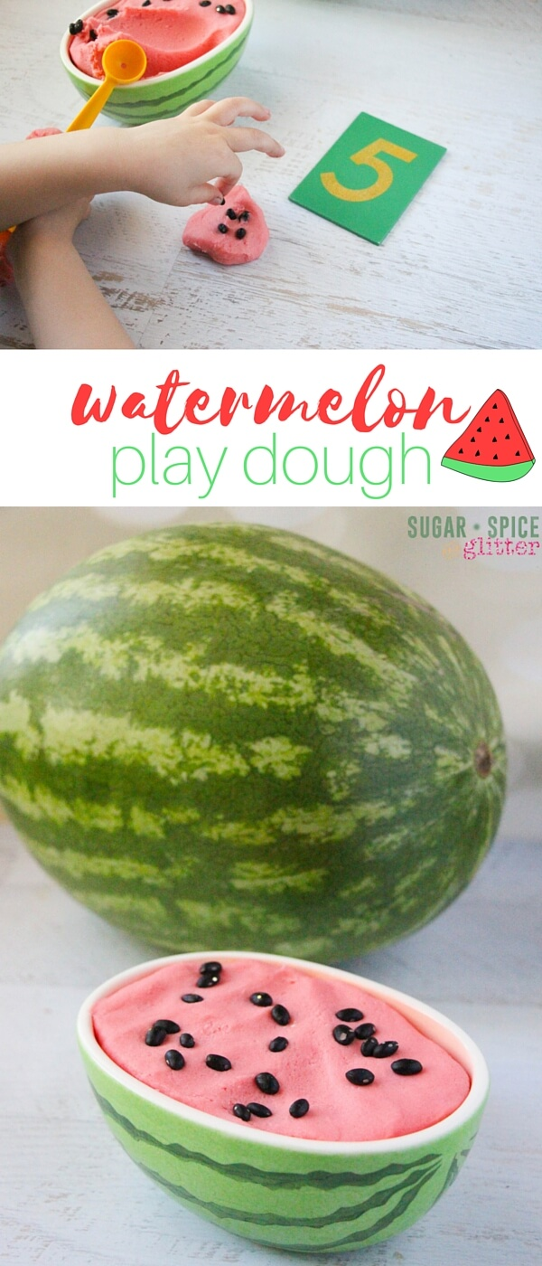 A fun summer sensory activity, this watermelon play dough math set-up is super simple and kids can play with the play dough in so many different ways. This is a great way to refresh math skills over the summer or help prepare kids for kindergarten