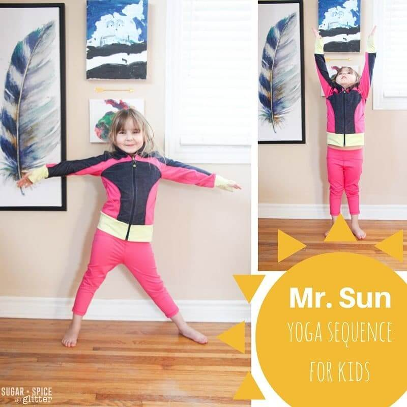 Mr. Sun Yoga Sequence for kids - perfect way to warm up before other summer gross motor activities