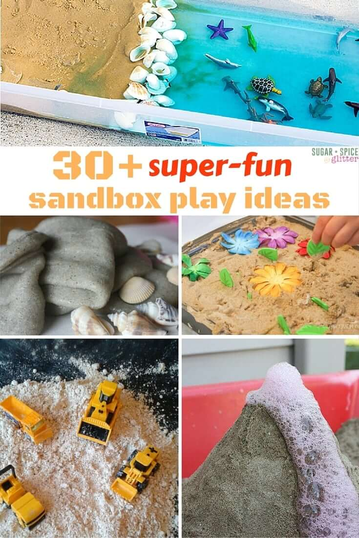 30 sandbox play ideas - everything from imaginative play to science experiments and unconventional sandbox toys, this list of sandbox play ideas will keep your kids busy all summer long. Sand is the most universal sensory play material, don't overlook it - there are so many ways to play.