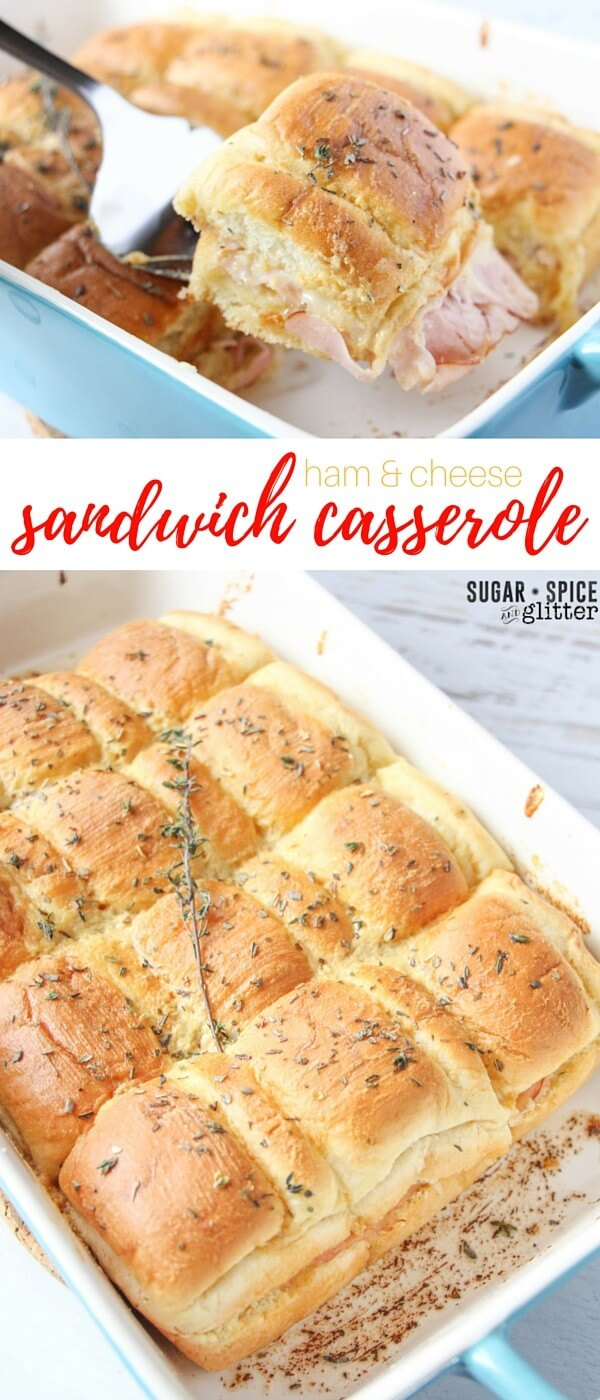 The perfect ham and cheese sandwich casserole - if you've never had a sandwich casserole, this is the ultimate recipe to try. It's perfect for potlucks, game days, or anytime you find yourself feeding a crowd. Everyone in my family goes crazy for these delicious, savoury, cheesy, buttery hot sandwiches