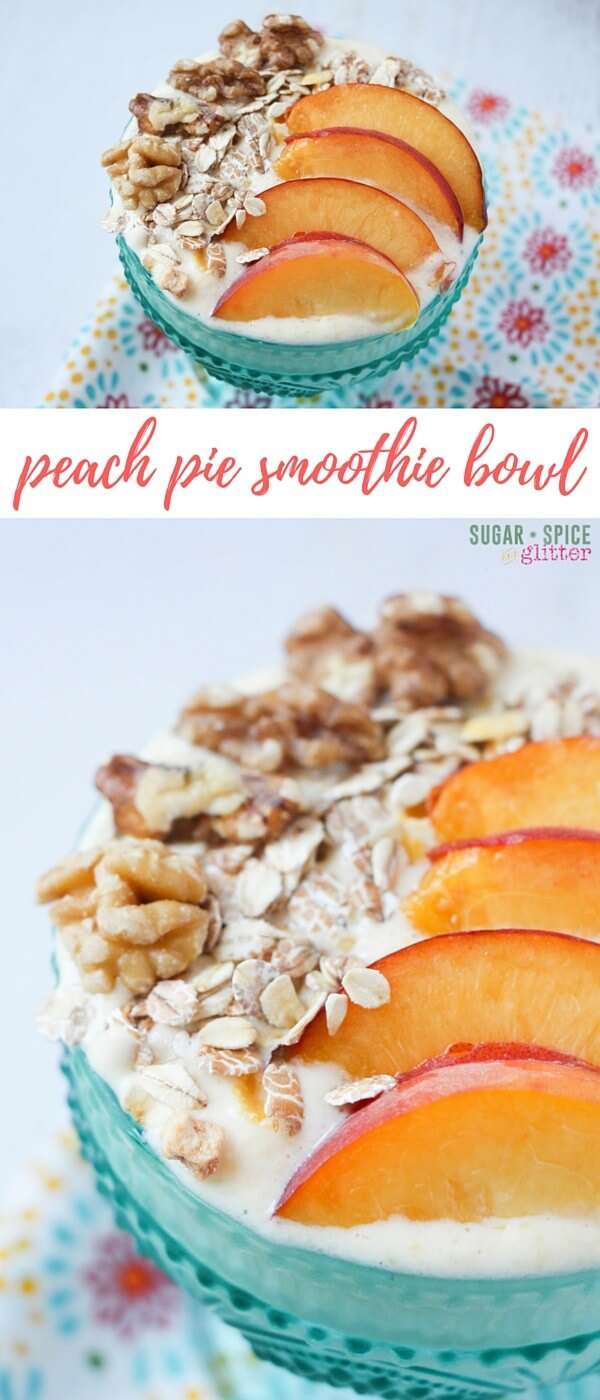 I'm all about easy, healthy breakfasts that feel a little bit indulgent, and this peach pie smoothie bowl fits the bill completely! A fresh take on peach pie that you can easily enjoy as a fun breakfast or healthy dessert with just a couple minutes of prep time.