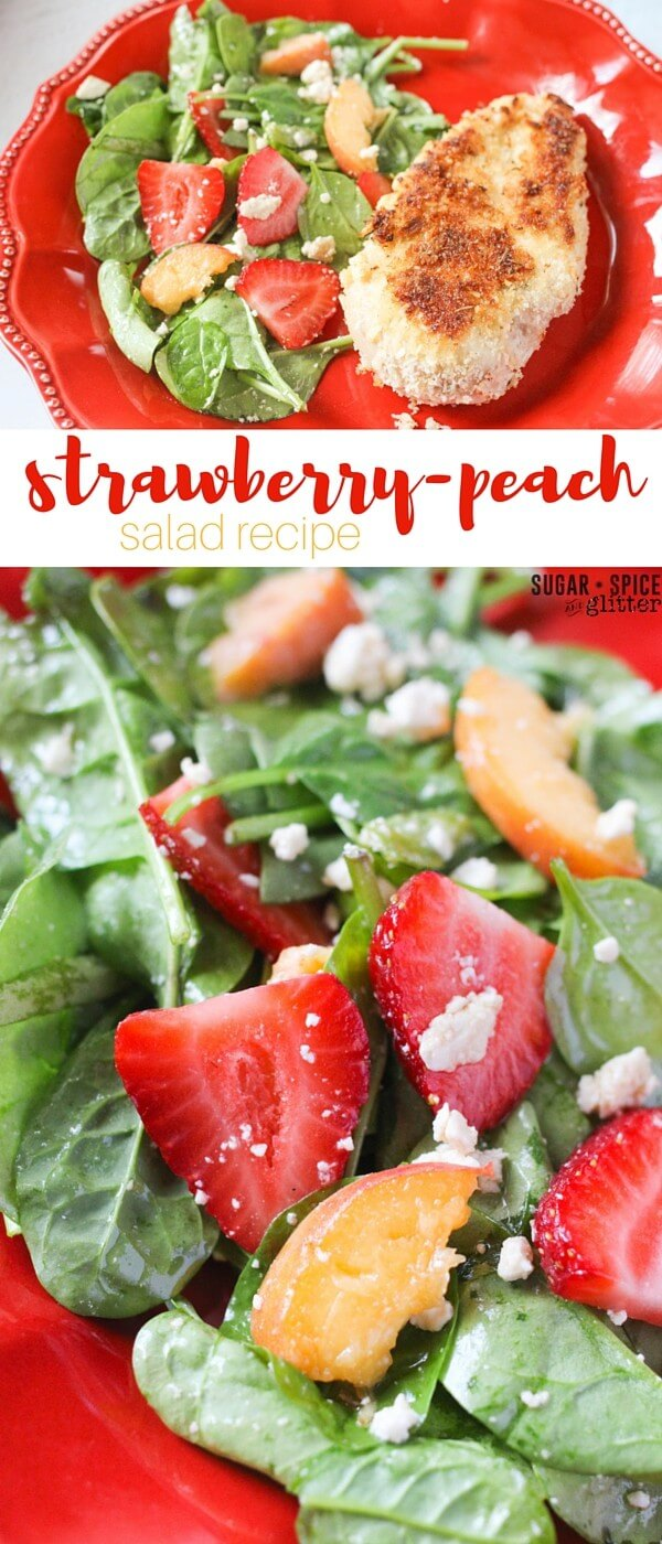 A fresh strawberry-peach salad with white balsamic and feta cheese, for something fresh and sweet but a little unexpected. The perfect summer salad recipe