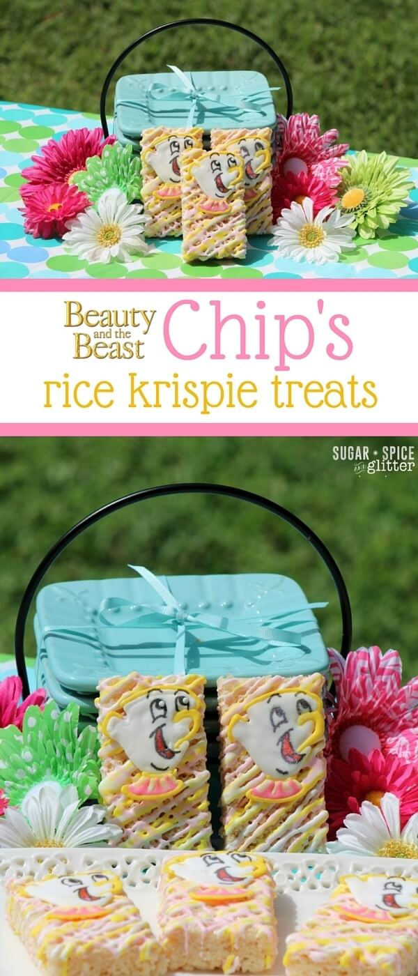 A simple Disney dessert for a Beauty & the Beast party or movie night, these Chip Rice Krispie Treats are cute and super easy to make!