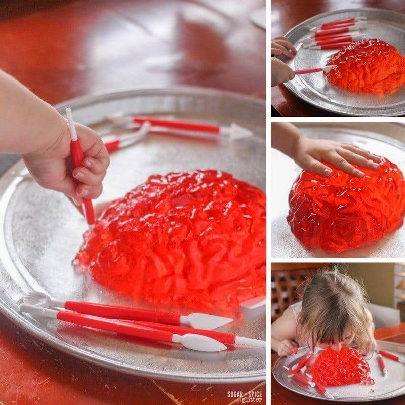 How to set up a fun brain dissection sensory play activity with Jell-O