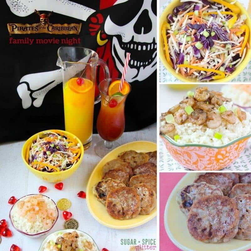 Pirates of the Caribbean family movie night with complete menu (Jamaican tossed salad, jerk shrimp, banana fritters, and Jamaican rum punch), fun craft for the kids to do while everything is cooking, and a free printable to plan your own family movie night. Disney movie nights are a fun way to count down to a Disney vacation or just establish a fun family tradition