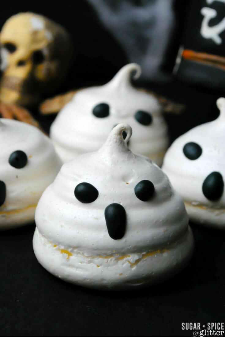 These ghost meringue cookies are sure to disappear quickly at your next Halloween party