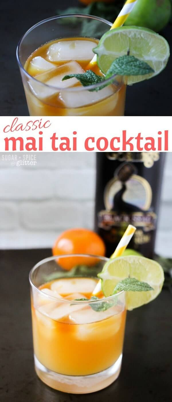 A classic mai tai cocktail recipe, including an easy recipe for homemade orgeat (almond simple syrup). Hands down the best rum cocktail you will ever try