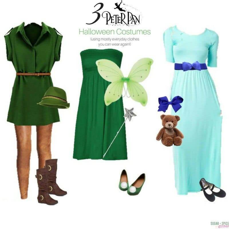 Peter Pan Costumes for Women using everyday clothes - a Peter Pan Wardrobe board with outfits for Tinkerbell and Wendy, too!