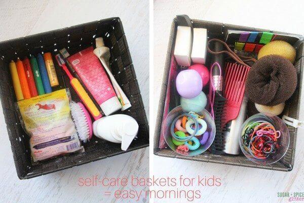 self-care-baskets-for-kids-easy-mornings