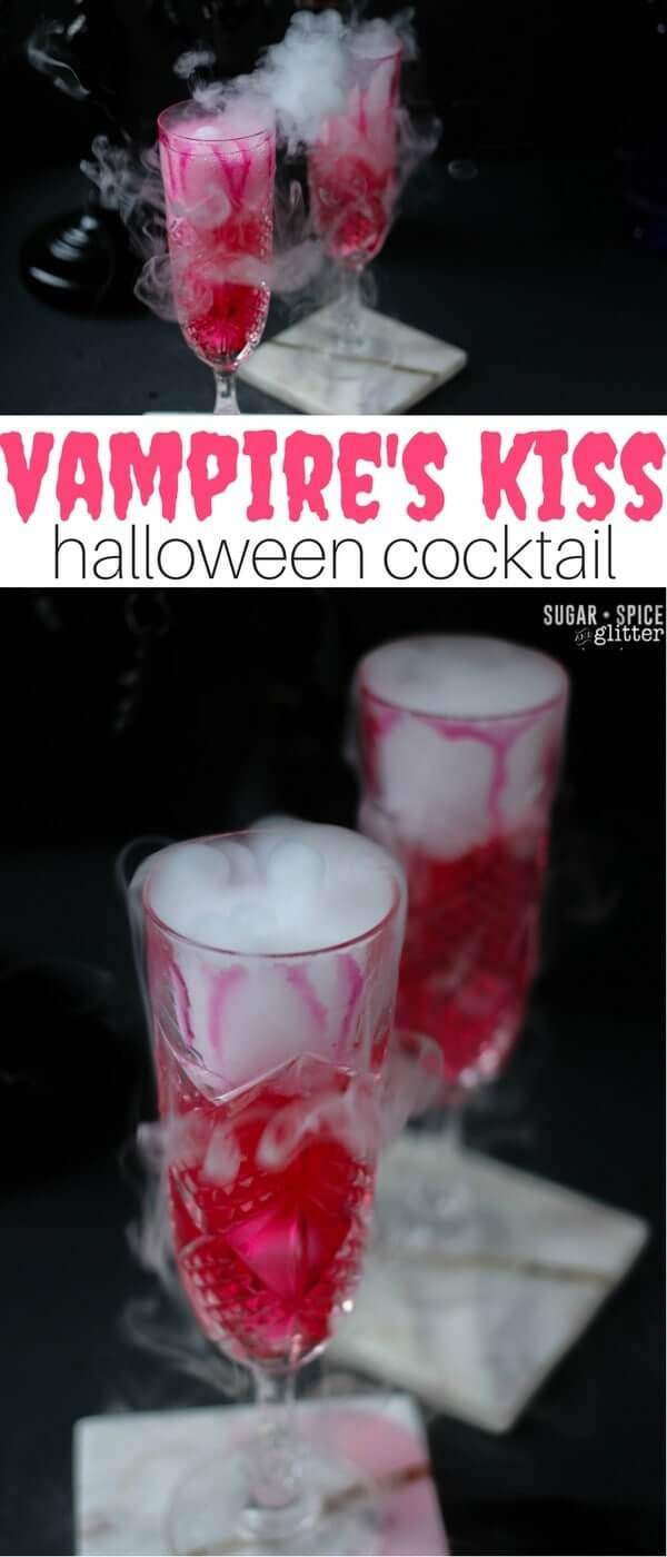 Vampire's Kiss Cocktail - a tart champagne cocktail inspired by the classic cosmopolitan