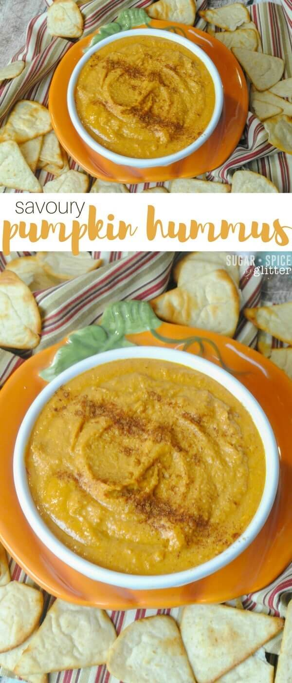 Savoury pumpkin hummus recipe - a delicious fall dip for your crackers or veggies, the perfect healthy fall party dip