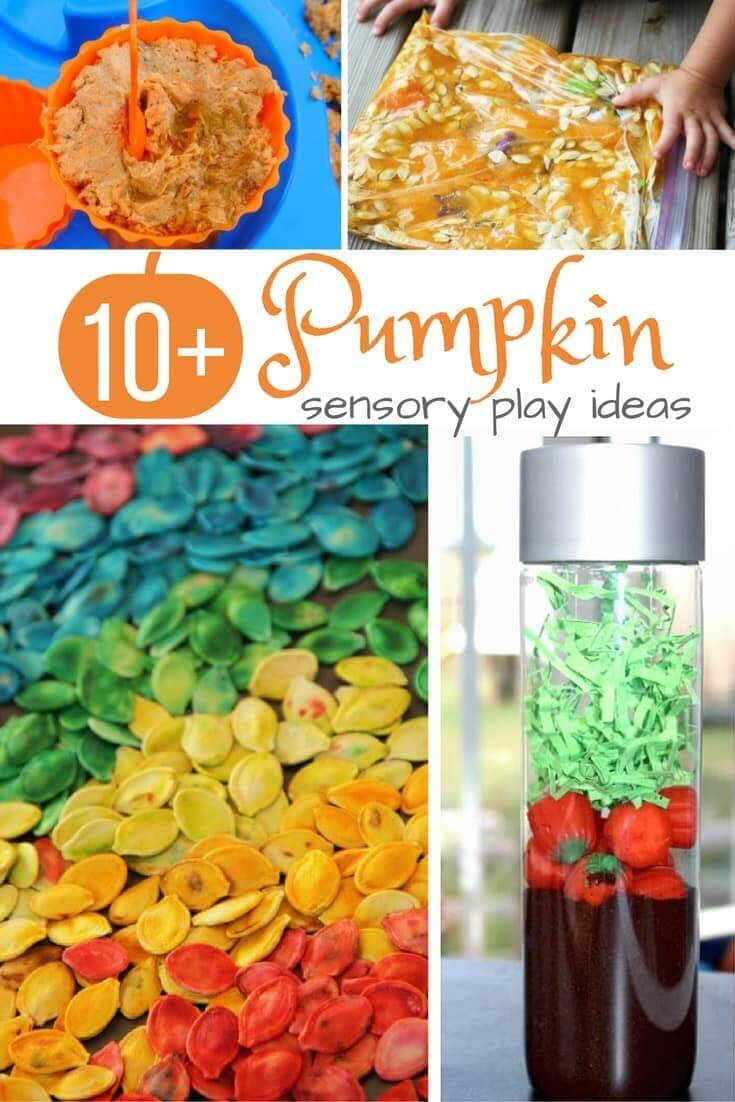 Are your kids excited for pumpkin season? Check out this fun list of pumpkin sensory play ideas - real pumpkin-based recipes, pumpkin seed play ideas, and a good dose of pumpkin spice. Enough ideas to keep your kids happy all season long