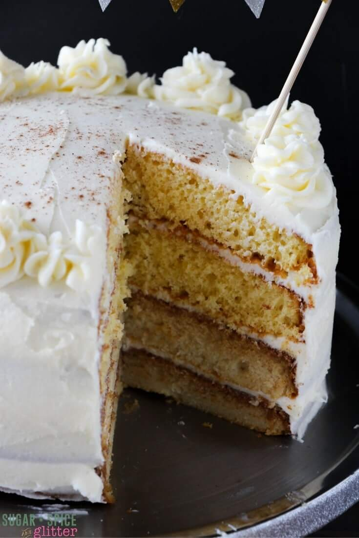Light, fluffy eggnog cake with plenty of rich and decadent eggnog buttercream