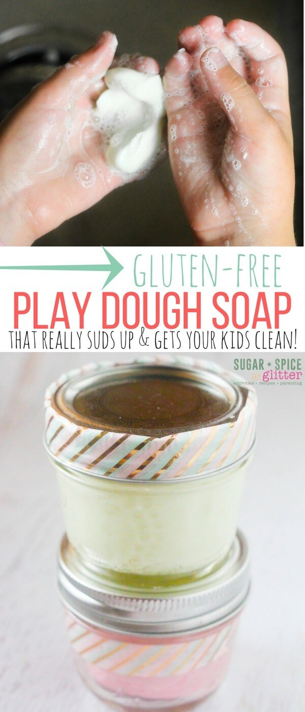 This gluten-free play dough soap would make an awesome present for a gluten-sensitive kid, or just a fun bath time surprise for your own child!