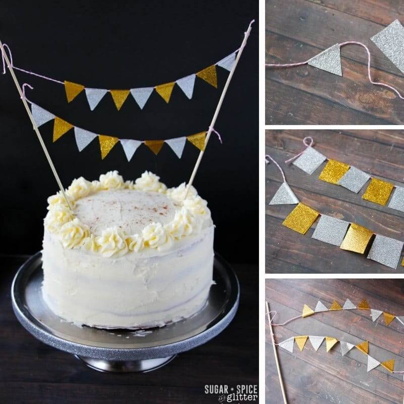 How to make a quick and easy bunting banner for your cake out of duck tape