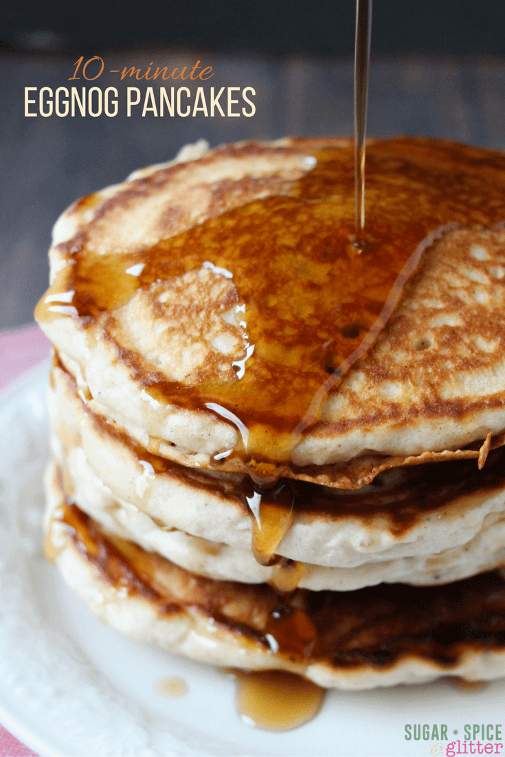 What better way to start your morning than with a stack of these light and fluffy eggnog pancakes - less than 10 minutes from pulling out the ingredients to digging in!