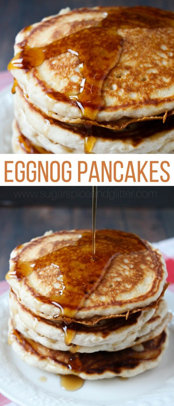 The perfect quick & easy winter breakfast, these eggnog pancakes come together in less than 10 minutes and are worth every last drop of maple syrup
