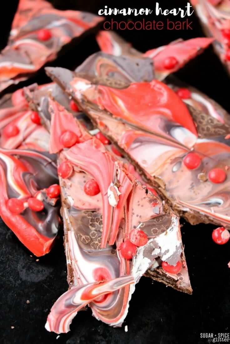 This Cinnamon Heart Chocolate Bark is super easy and quick to make - perfect if you've forgotten to make a special Valentine's Day treat for someone, or if you want to add a little something extra on top of a cake or cupcake