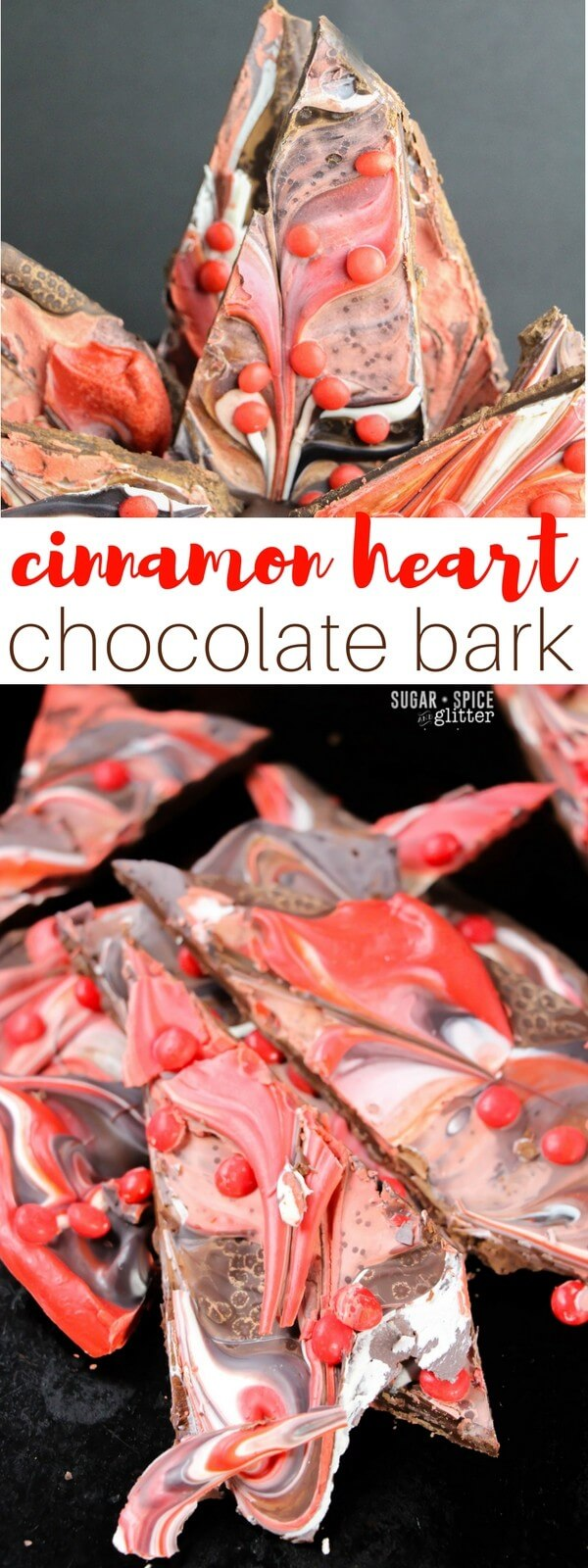 A super delicious and easy cinnamon heart chocolate bark perfect for treating your Valentine! This easy Valentine's Day candy takes less than 5 minutes to make and is a fun update on Peppermint Bark