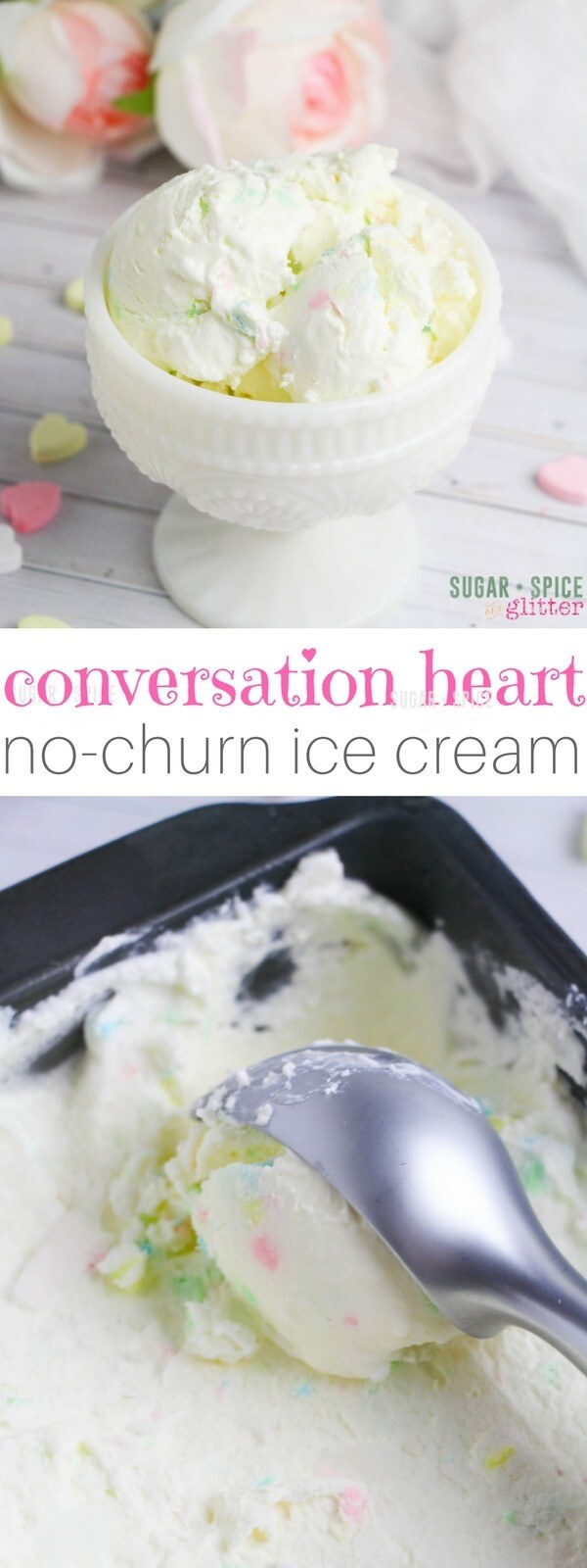 A sweet and creamy Valentine's Day dessert using conversation hearts for a cute, pastel-flecked effect. This easy no-churn ice cream recipe takes less than 5 minutes to whip up and can be enjoyed in just 2 hours