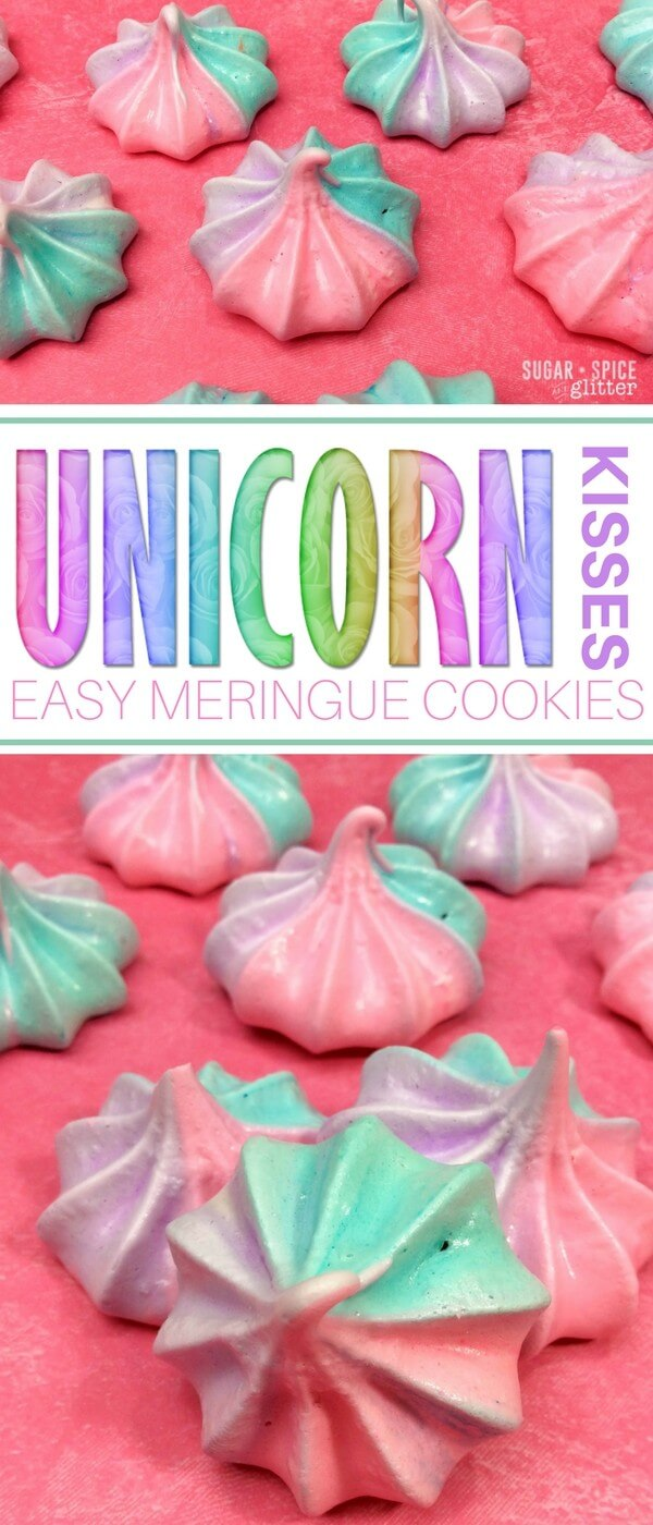 These cute and easy Unicorn Kisses are sure to add a bit of magic to your day! This simple to follow meringue cookie recipe makes the most perfect melt-in-your-mouth cookies, the perfect dessert for your Unicorn party or as a lunch box surprise for your unicorn-loving kid