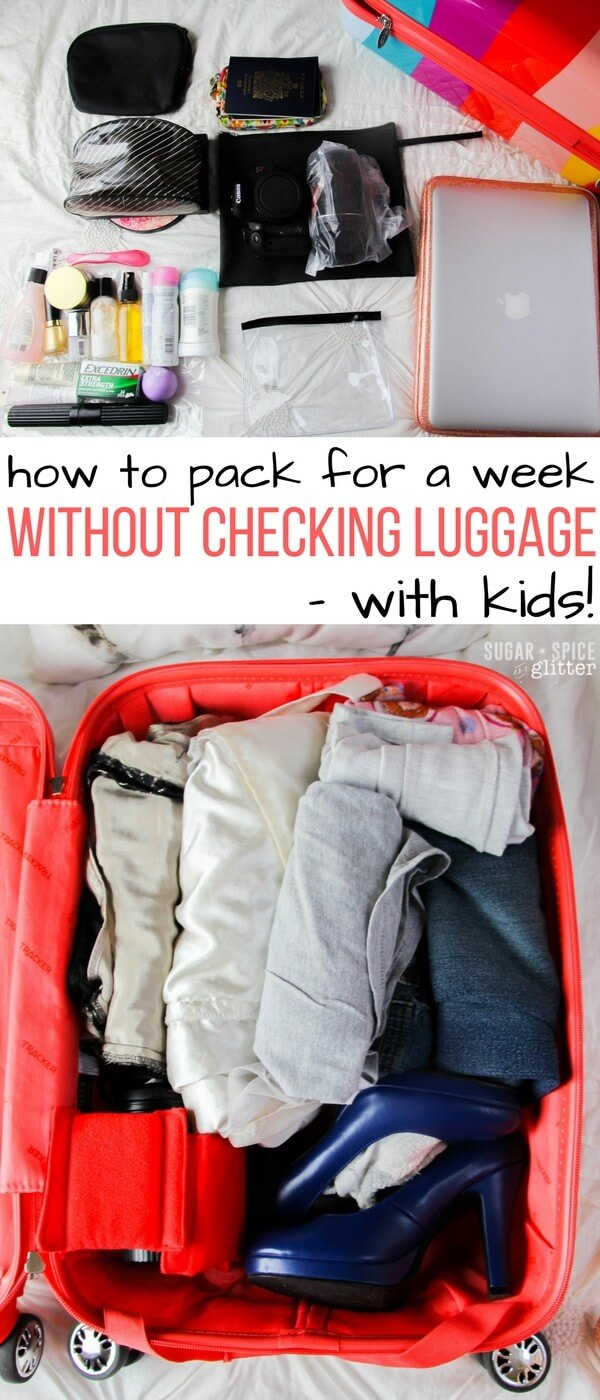 Can you believe this mom travels with just a single carry on with her daughter? Use these tips to avoid checking luggage and overpacking - saving you time, money and stress while packing for vacation