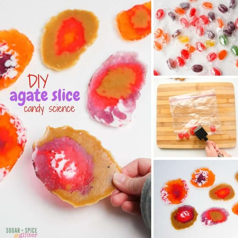 How to Make DIY Agate Slices with candy - a fun kitchen science experiment perfect for little rock collectors