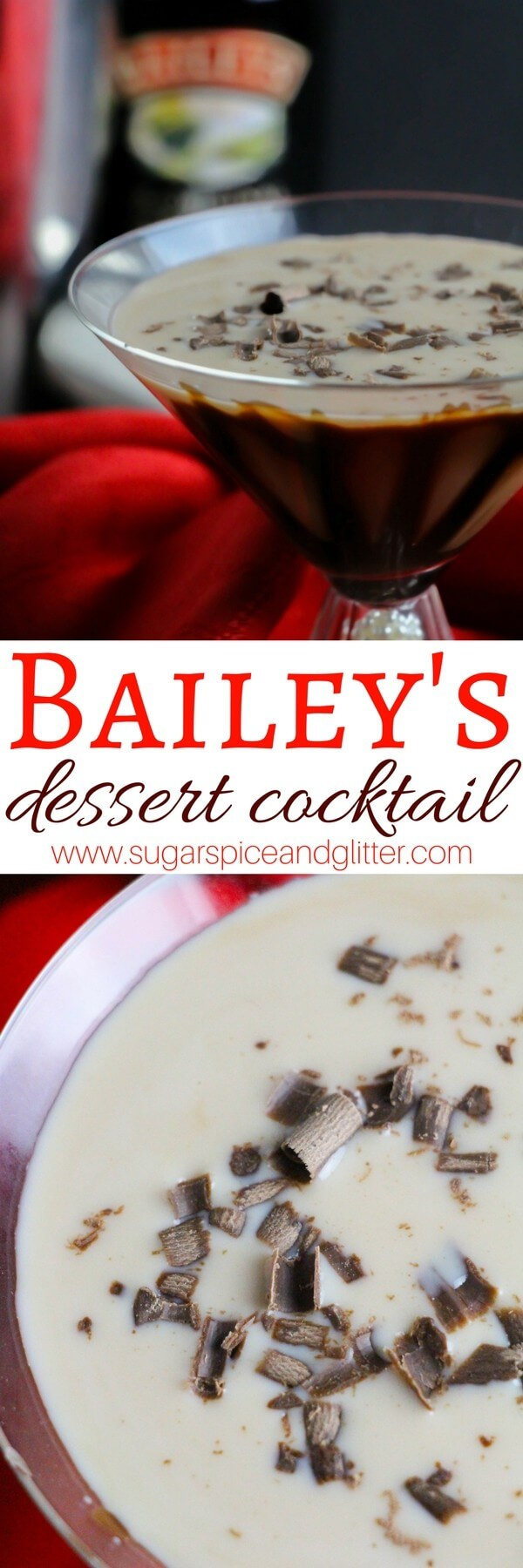 An easy Bailey's cocktail with chocolate liqueur, chocolate syrup and chocolate shavings for when you deserve a bit of indulgence