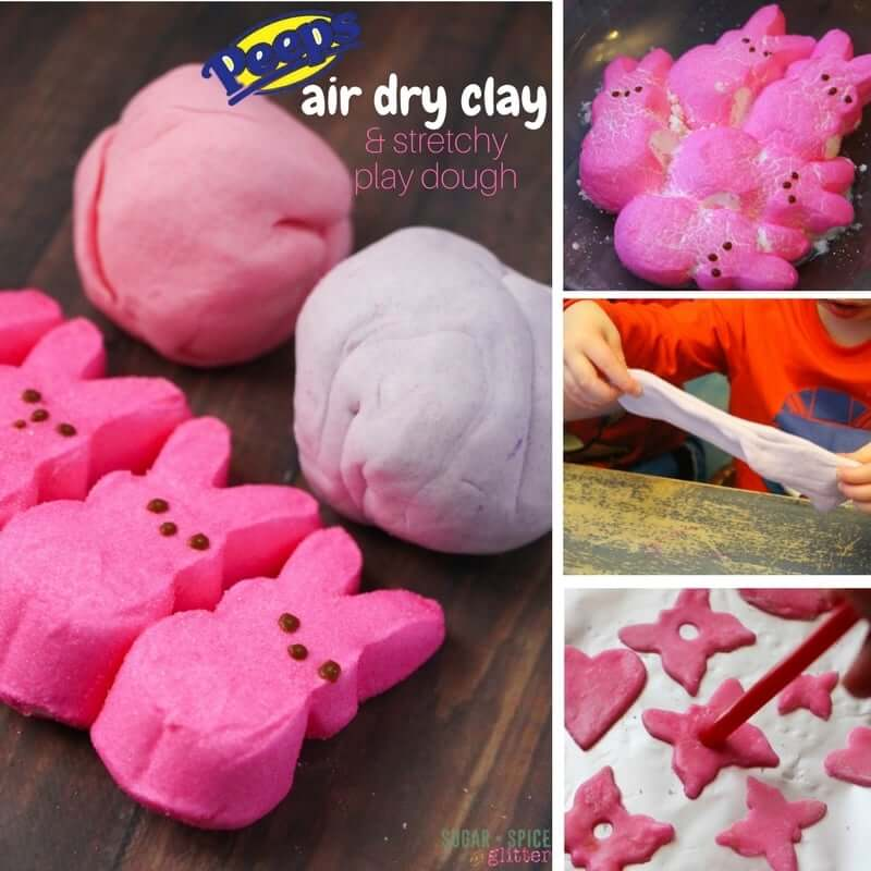 How to make air dry clay out of leftover Peeps! A stretchy marshmallow play dough that dries into porcelain-style ornaments